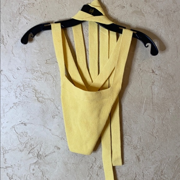 Aritzia Wilfred Yellow Knit Wrap Tank